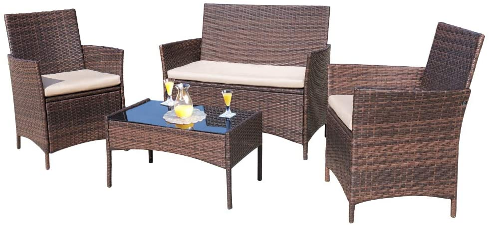 Homall 4 Pieces Outdoor Patio Furniture, Indoor Wicker Furniture Clearance